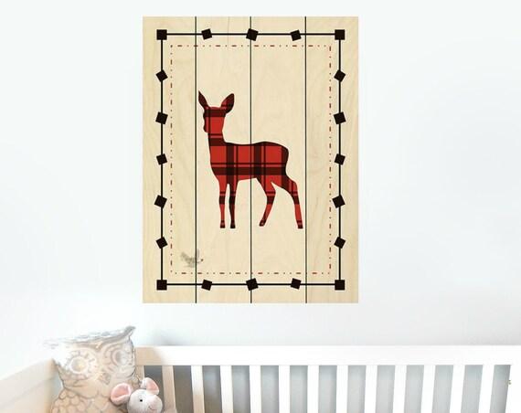 Buffalo Plaid Deer Sign - Deer Nursery Decor - Deer Wall Art - Nursery Wall Decor - Pallet Wall Art - Pallet Wall Decor - Wood Pallet Art