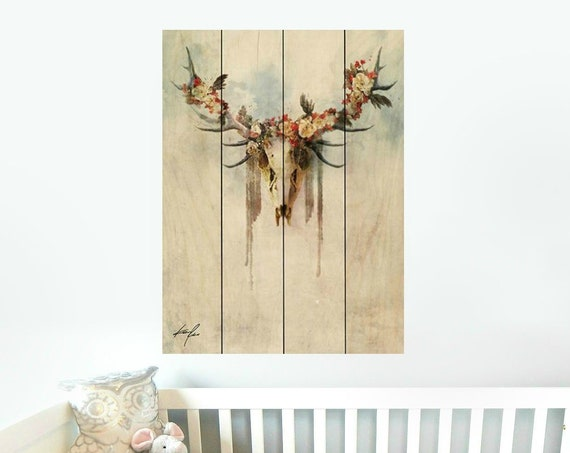 Cow Skull Wood Sign - Boho Sign - Skull and Flower Sign - Nursery Wall Decor - Pallet Wood Sign - Pallet Wall Art -Pallet Wall Decor