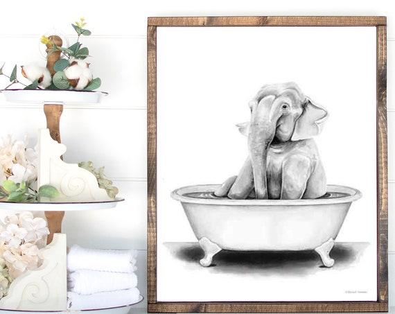 Elephant Animal in Bathroom Bath Tub Art Print - Whimsy Animal - Animal Art Print