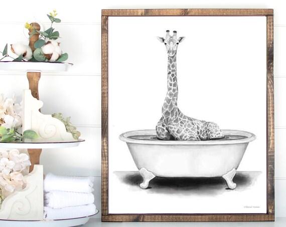 Giraffe Animal in Bathroom Bath Tub Art Print - Whimsy Animal - Animal Art Print