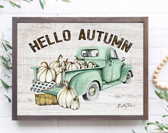 Hello Autumn Print - Fall Teal Truck - Pumpkin Sign  -  Pumpkin Wall Art - Buffalo Plaid Sign - Black and White Sign - Vintage Truck Sign