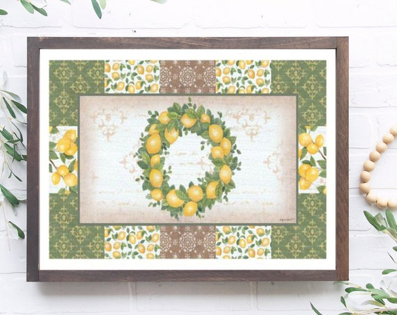 Lemon Wreath Print,Lemon Decor,Lemon Sign, Lemon Decor, Lemon Lover Sign, Lemon Kitchen Decor, Lemon, Lemon Print