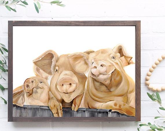 Baby Pig Print -Baby Animal Prints - Baby Decor - Baby Wall Art - Pig Wall Art - Animal Prints - Animal Art - Nursery Animal art