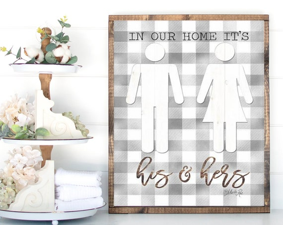 In our home it's his and hers paper Paper Print - Funny Bathroom Print - Toilet Print-Kids Bathroom Print - Toilet Paper Print