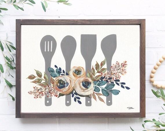 Kitchen Baking Utensils Print - Floral Kitchen Utensils - Floral Kitchen Art - Wooden utensils print - Rustic Kitchen Art - Floral utensils