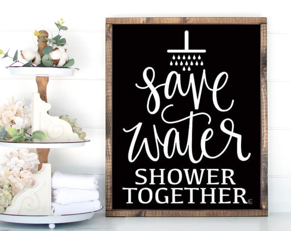 Farmhouse Decor | Farmhouse Wall Decor | Farmhouse Signs | Save Water Shower Together Print | Funny Bathroom Signs | Home Decor