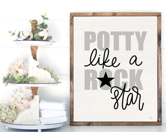 Potty Like a Rock Star Print - Potty Training Print - Toilet Training Print - Funny Bathroom Print - Bathroom Art