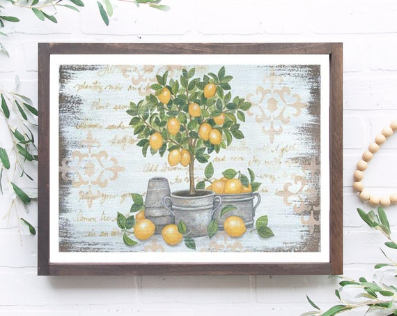 Lemon Topiary Print - Lemon Sign - Lemon Decor - Lemon Lover Sign - Lemon Kitchen Decor - Lemon - Lemon Print