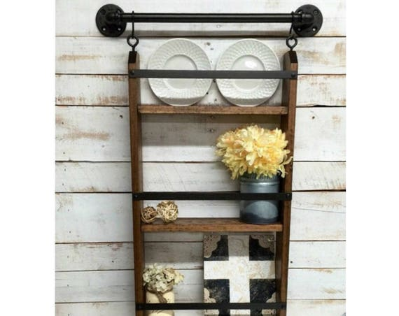 Rustic ladder shelf-Pipe Furniture-Dining Room Shelf-Farmhouse Distressed-industrial farmhouse-farmhouse shelf-farmhouse shelves