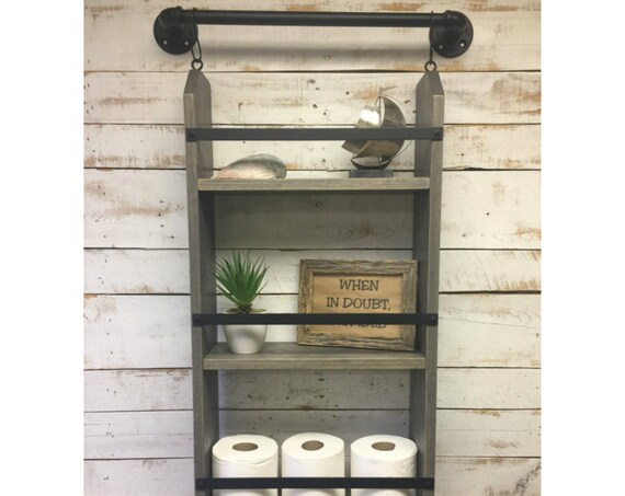 Farmhouse Furniture-Rustic Ladder Shelf-Distressed Shelf-Rustic Wood Shelf-Bath Ladder Shelf-Industrial decor-industrial farmhouse
