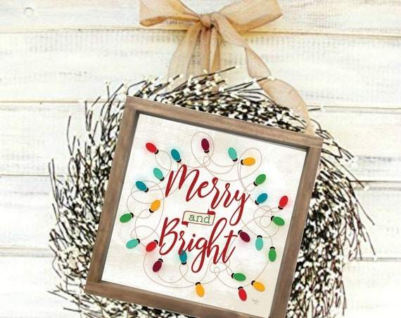 Merry and Bright Christmas Print - Be Merry Sign - Vintage Christmas Sign - Distressed Signs - Rustic Christmas Sign - Christmas Sign