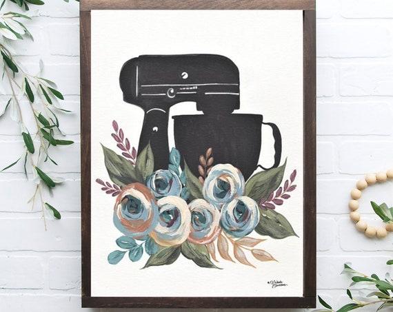 Baking - cooking - black mixer, Floral Mixer print - artwork - food lover - baking gifts - gift for - kitchen art - kitchen poster- wall art