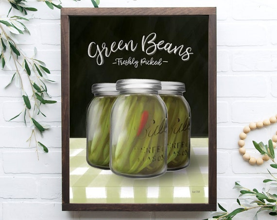 Farm Fresh Green Beans kitchen sign | Mason Jar sign | kitchen wall decor | farmhouse sign | farmhouse kitchen decor| Home Decor| Farmhouse