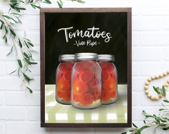 Farm Fresh Tomatoes kitchen sign | Mason Jar sign | kitchen wall decor | farmhouse sign | farmhouse kitchen decor| Home Decor | Farmhouse