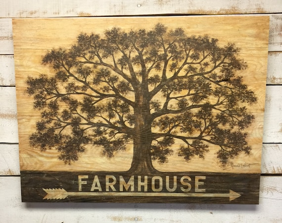 Wooden Tree of Life Sign - Farmhouse Picture - Gallery Wall Sign - Farm Wall Hanging - Farmhouse Entry  - Tree of Life Sign