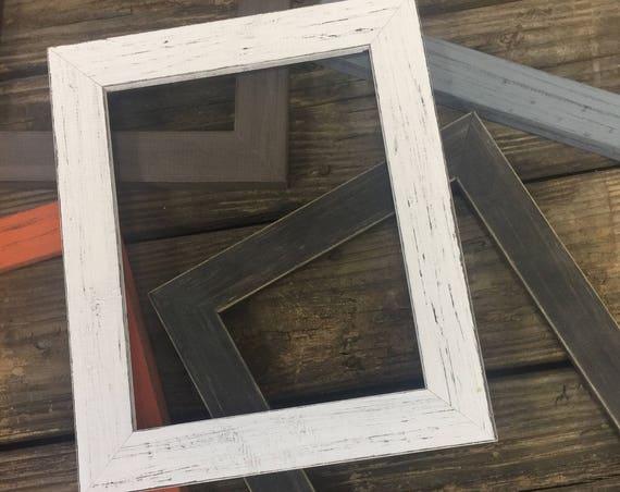 Wood White Frame - Shabby Chic Frames - 11 x 14 frame - Distressed Frames - Farmhouse Frame - Rustic Photo Frame - Farmhouse Picture