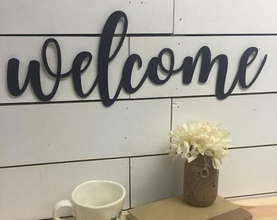 Welcome Wooden Sign-Welcome Wood Sign-Welcome Wood Cutout-Welcome Cutout-Hanging Welcome Sign