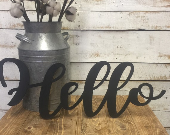 Hello Wood Word-Hello-Hello Sign-Hello Cutout-Cursive Hello-Fancy Script Hello-Hello Wood Decor-Wooden Word Signs-Wall Art Words-Scroll Cut