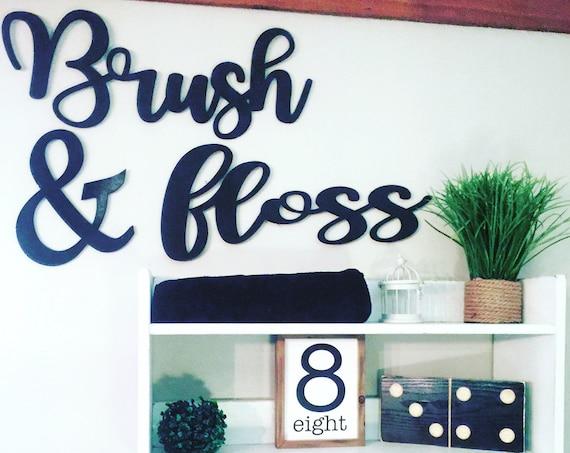Bathroom Word Cutouts, Brush & Floss-Bathroom Decor- Kids Bathroom