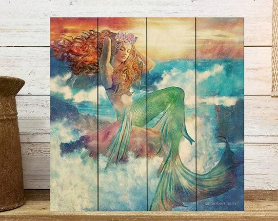 Mermaid Beach Sign- Made in USA- Vivid Distressed Wood Sign-Tiki Bar-Beach House-Ocean Art Decor- Beach house wall decor