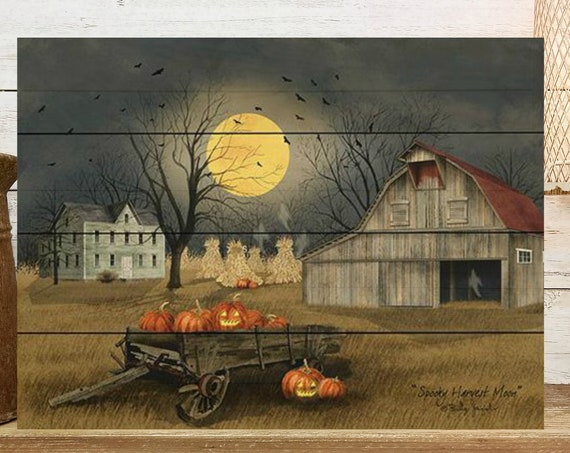 Spooky Harvest Moon Sign - Wood Pallet Sign - Fall Sign - October Sign - Fall Wood Sign -  Wood Halloween Sign