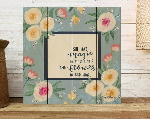 Women's Floral Office Decor - Feminist Wall Art - Self Love Art - Office Sign - Wood Sign - Farmhouse Wall Decor - Wood Pallet Sign