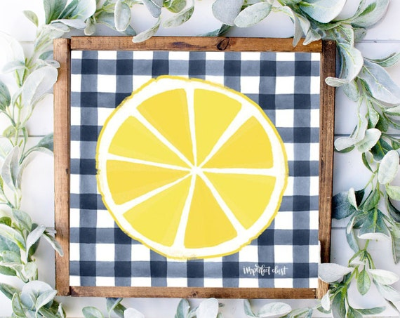 Lemon Print - Navy Blue Buffalo Kitchen Decor - Lemon Decor - Lemon Decor - Lemon Lover Sign - Lemon Kitchen Decor - Lemonade Print