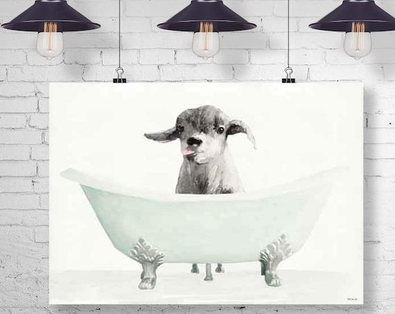 Goat in a Bathtub - Goat Taking a Bath - Bathroom Art - Goat Bathing, Whimsy Animal, Funny Bathroom Wall Art, Animal Art