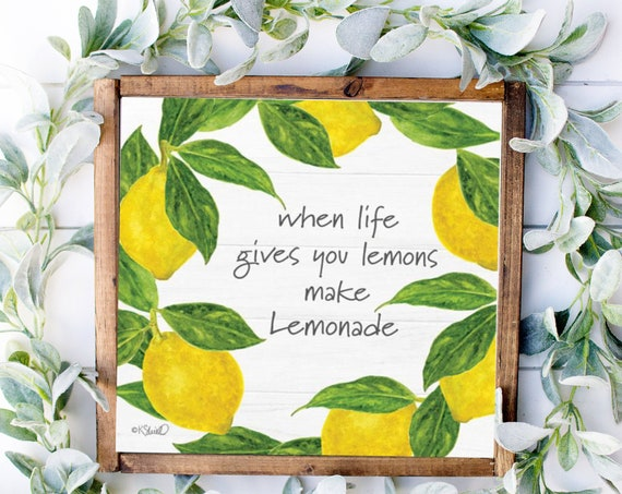 Lemonade Decor, Make Lemonade Sign, Lemon Decor, Lemon Lover Sign, Lemon Kitchen Decor, Lemonade Stand Sign, Lemonade Print