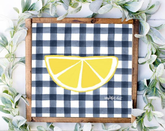 Half Lemon Print - Navy Blue and Yellow Lemon Decor - Make Lemonade Sign - Lemon Decor - Lemon Lover Sign - Lemon Kitchen Decor