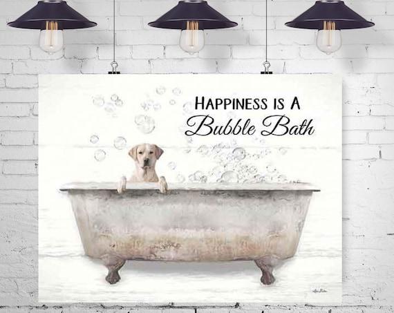 Dog in Bathtub  | Wash your paws | Dogs in Bathtub | Yellow Labrador Retrievers Dogs |Dog Print | Bathroom Prints
