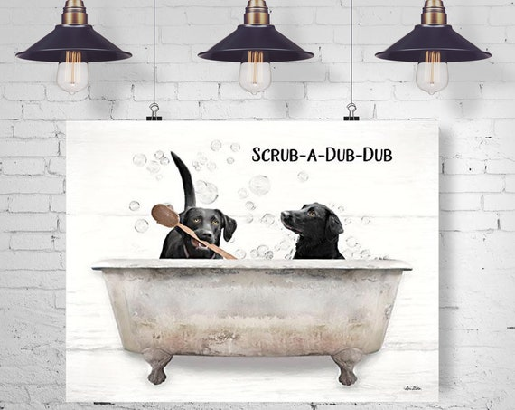 Two blacks Labs in bathtub | Wash your paws | Dogs in Bathtub | Funny Bathroom Signs |Dog Print |Bathroom Prints | Paw Prints