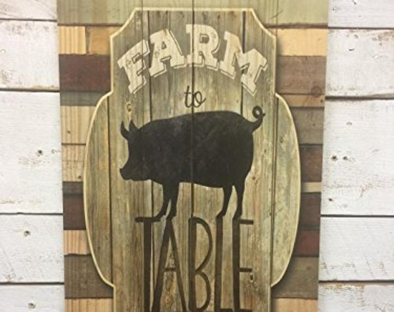 Farm to Table Pig Sign - Pig Wood Wall Decor - Farm To Table Sign - Pig Wall Decor - Farmhouse Pig Sign