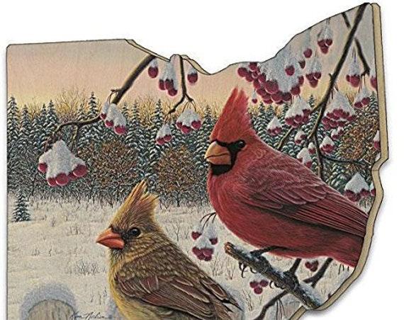 Ohio wood sign - Winter Cardinals by artist KIM NORLIEN - ohio cutout - farmhouse ohio sign - wood sign - ohio wood sign - birds