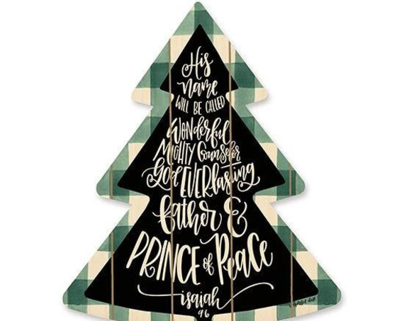 Prince of Peace Sign- Wooden Christmas Tree- Plaid Christmas Tree- Buffalo Print Sign