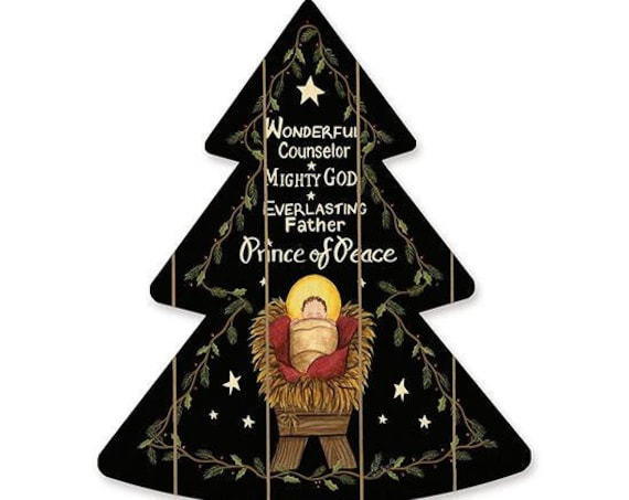 Prince of Peace Sign- Nativity Wood Sign- Wooden Christmas Tree- Wood Christmas Tree Cutout
