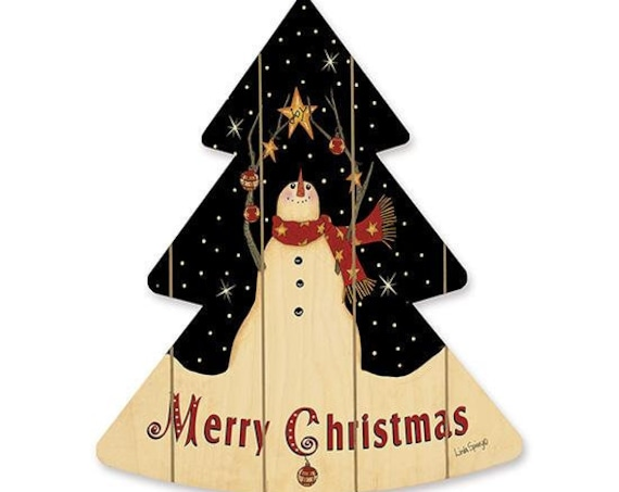 Snowman with Star Sign- Wooden Christmas Tree- Snowman Christmas Tree