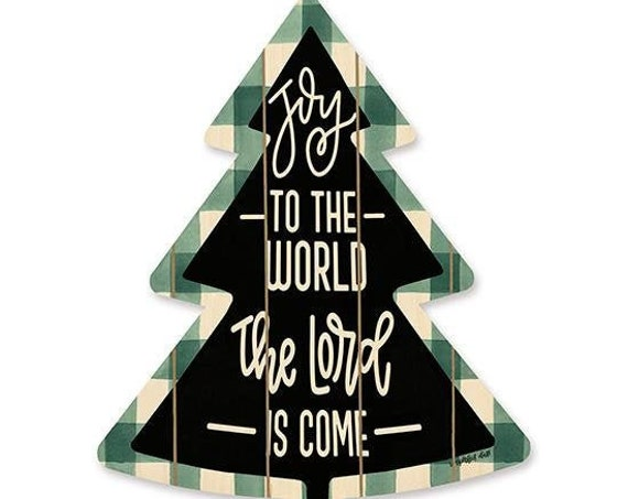 Joy to the World the Lord is come Sign- Wooden Christmas Tree- Plaid Christmas Tree- Buffalo Print Christmas Tree