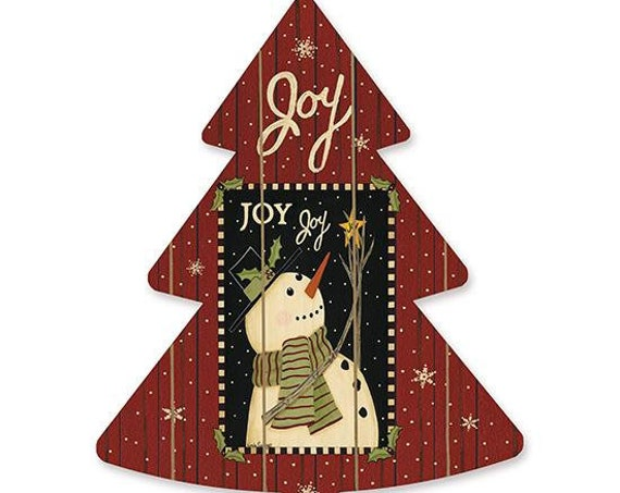 Joy Christmas Snowman Sign- Wooden Christmas Tree- Snowman Christmas Tree