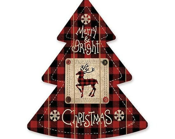 Buffalo Print Reindeer Sign- Wooden Christmas Tree- Buffalo Plaid Christmas Tree