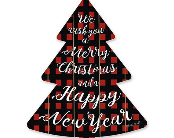 We wish you a Merry Christmas and a Happy New Year Sign- Wooden Christmas Tree- Buffalo Plaid Christmas Tree- Red and Black Buffalo Sign