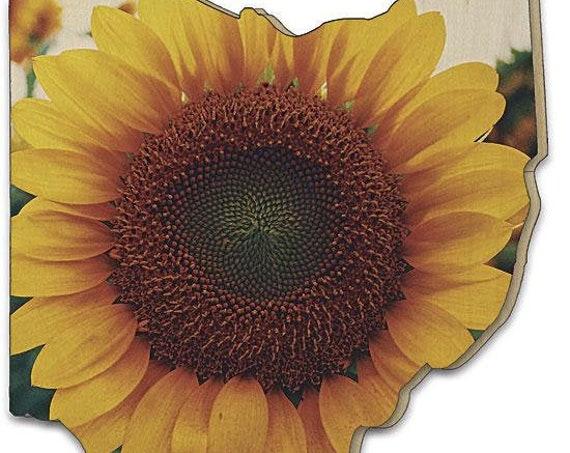 Ohio Sunflower Sign - Ohio sign - Ohio Wood Sign - Wood Sunflower Sign - Sunflower wall art -Ohio wood cutout - Ohio cutout sign -Wood Ohio