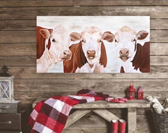 Hereford cow painting prints - Rustic Cow Print - Cow Wall Art - Farm Animal Print