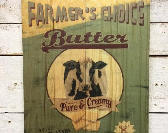 Farmer's Choice Cow Sign - Cow Wall Decor - Cow Sign - Wooden Cow Sign - Rustic Cow Sign - Cow Decor - Cow Art Print - Cow Wood Sign