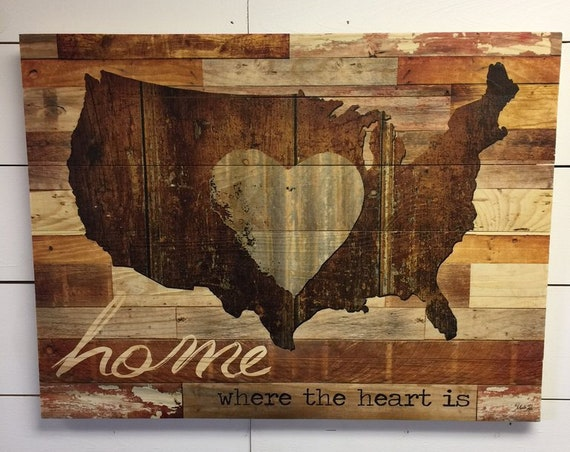 Home is Where the Heart is Wood Sign - United States Sign - Map Sign - Wood American Flag - Wall Art - Pallet Wood Sign-Wooden American Flag