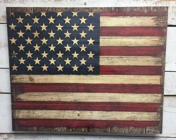 Rustic American Flag-American Flag-USA Sign-Wooden American Flag-Wood American Flag-United States Sign-Pallet Wall Art- Pallet Wood Sign