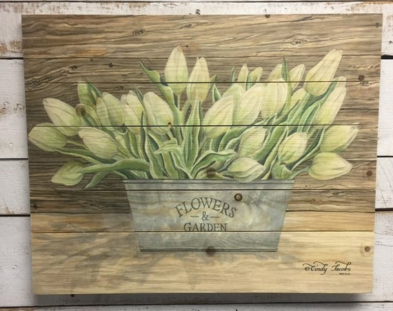 Flower Wall Art - Flowers and Tulips - Dining Room Decor - Pallet Wood Sign-Pallet Wall Art-Pallet Wall Decor-Wood Pal let Art- Wood Pallet