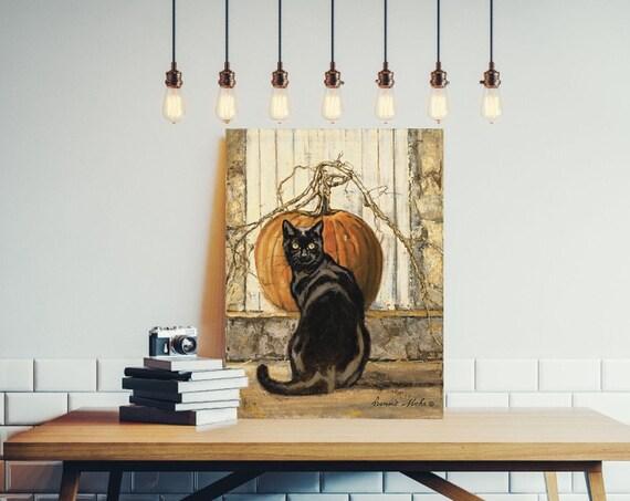 Black Cat art print - Cat Halloween decor- Black Cat Halloween decorations - Halloween wall art - Halloween decor - Halloween decor