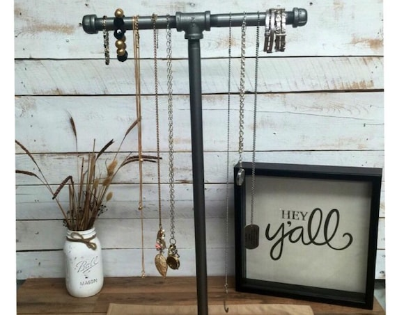 Large Industrial pipe jewelry stand-Industrial Jewelry Stand-Industrial Chic-Hooks and Fixtures-Steampunk Jewelry Stand-