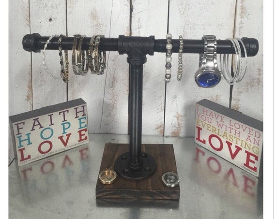 Industrial jewelry stand, jewelry display, jewelry rack, rustic industrial, pipe jewelry stand, watch stand, bracelet stand